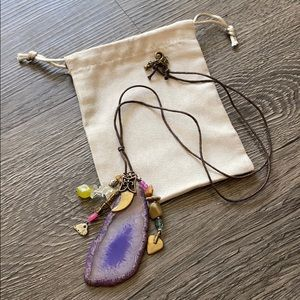 Geode hobo necklace